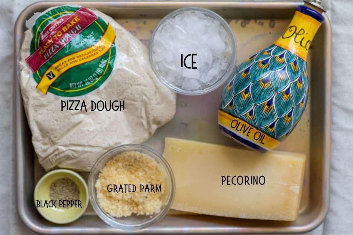ingredients for cacio e pepe pizza