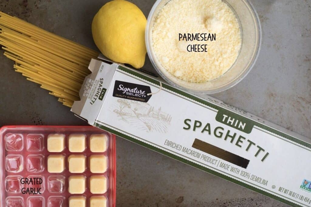 ingredients for lemon garlic one pan pasta