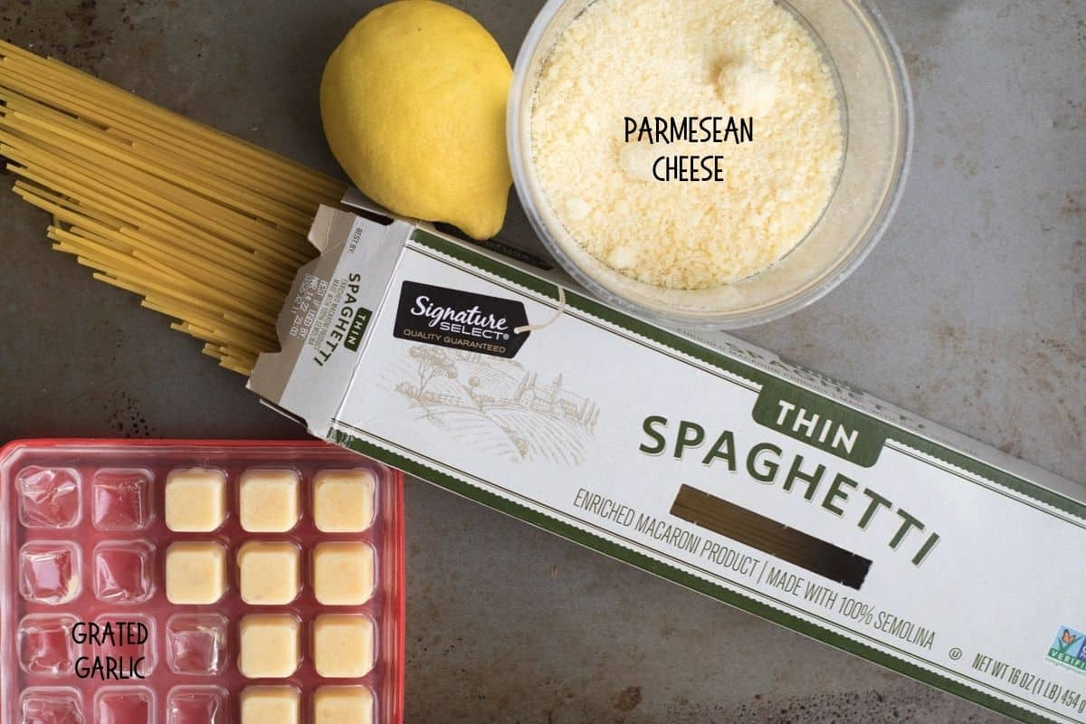 ingredients for lemon garlic one pan pasta