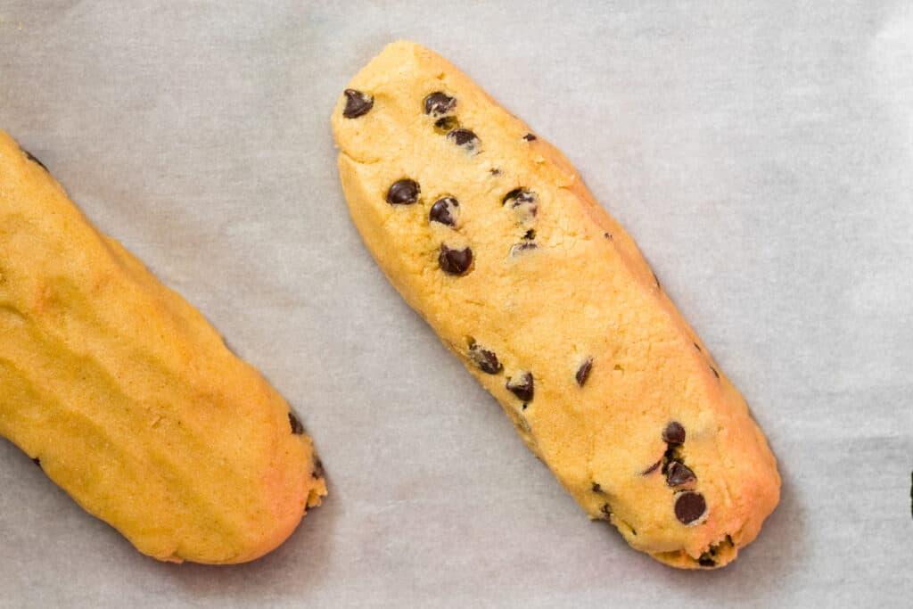 two logs of mandel bread before baking