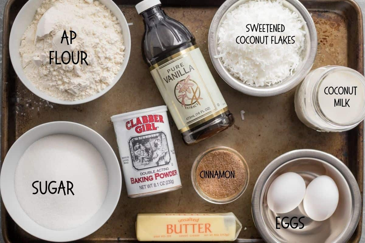 ingredients for coconut bread on a sheet pan