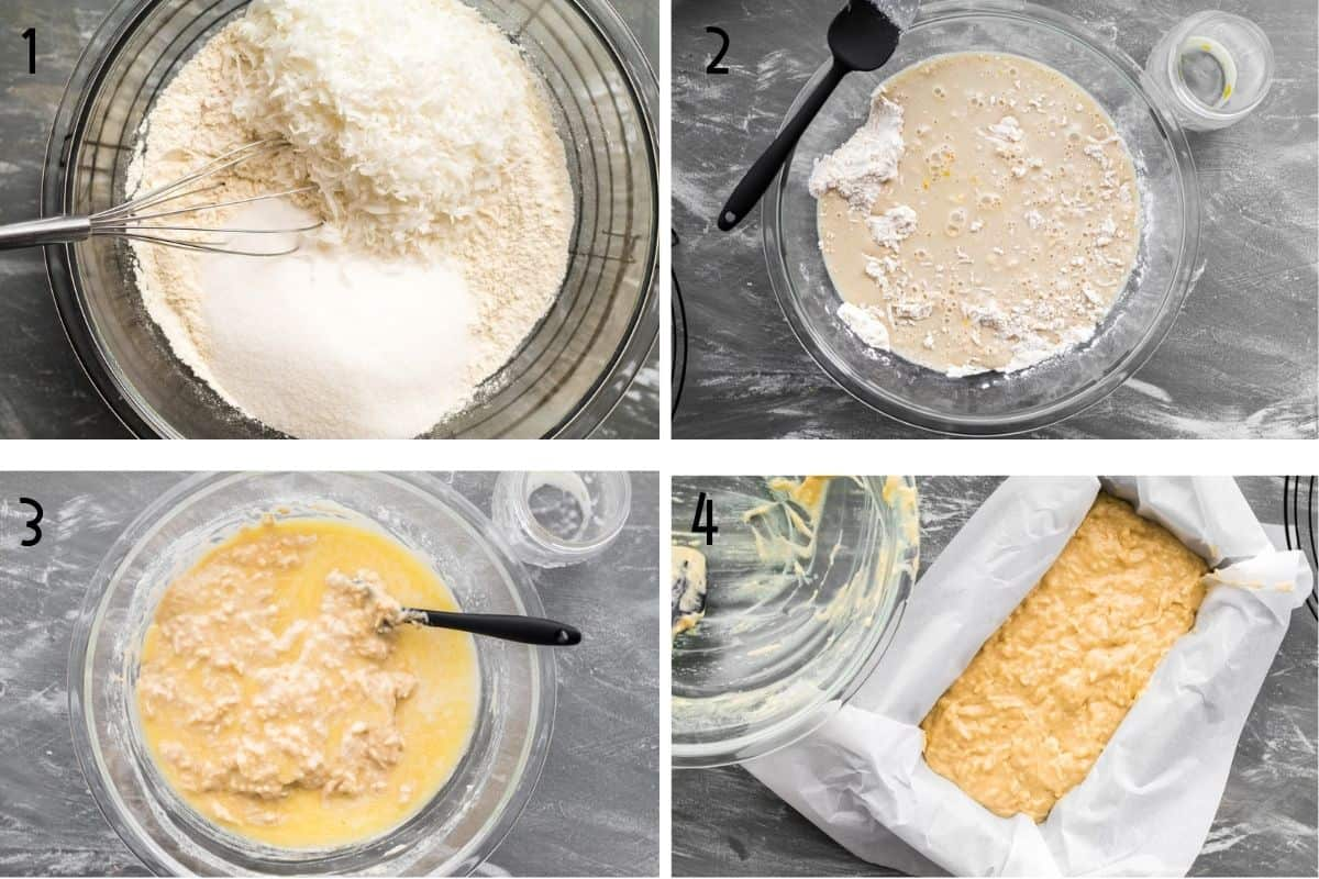 step by step instructions for making coconut bread