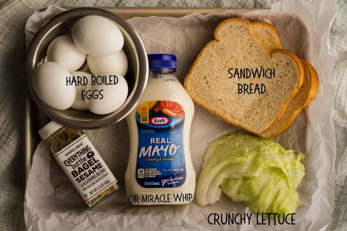 ingredients for egg salad sandwich