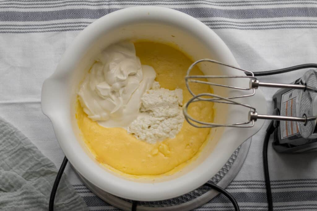 sour cream and cottage cheese added into batter